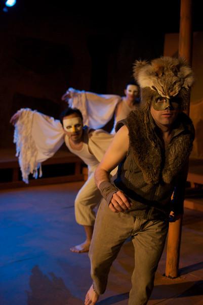Trickster - Halcyon Theatre Company, 2011<br /> <br /> (Foreground-background) Scott Alan Luke, Riso Straley and Rudy Galvan.<br /> Director: Tony Adams<br /> Lighting Design: Frank Schneider<br /> Costumes: Izumi Inaba