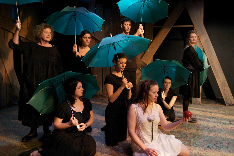 The Last Unicorn - Promethean Theatre Ensemble, 2009<br /> <br /> Barbara Berndt, Jessica Cluess, Caitlin Costello, Kyla Embrey, Beau Forbes, Christina Gorman, Derek Jarvis, Nick Lake, John A. Lewis, Jack McCabe, Paul G. Miller, Brian Pastor, Laura Skokan, Shawana Tucker<br /> Director: Ed Rutherford<br /> Lighting Design: Sean Campbell<br /> Scenic Design: Roger Wykes<br /> Costume Design: Jeanne Jones
