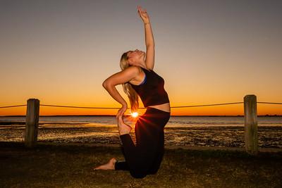 Sunset yoga portrait @ Pitt Street Bridge in Mount Pleasant, SC.