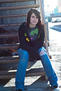 REDONDO BEACH AND TORRANCE, CALIFORNIA — Senior class photos of Siera Nelson (with red, then robot top) and Cassy Brown (blue, then Transformer top). First at Wilderness Park, then behind Ace Hardware and an alley behind the Vons. Photo taken by Tom Sorensen Sunday, January 31st, 2009.