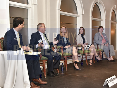 Moderator and senior reporter Michael DeMasi, left, Dr. John Bennett, President & CEO of CDPHP; Courtney Burke, Chief Strategy Officer at Albany Medical Center; Joan Hayner, CEO of CapitalCare Medical Group and Tracey Riley, Vice President of Human Resources at Finch Paper
