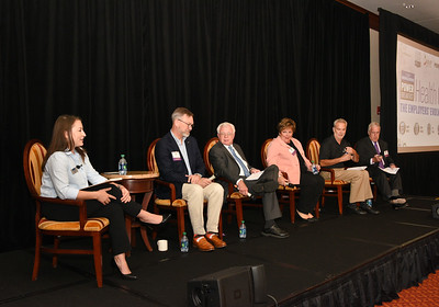 Moderator and reporter Liz Young, left, panelists Gary Dake, President, Stewart's Shops Corp.; Chair, St. Peter's Health Partners;  Ed Keis, Chief Financial Officer, DeCrescente Distributing Co.; Paula Stopera, President & CEO, CAP COM Federal Credit Union;  Tony Hynes, CEO, Precision Valve & Automation  Barry McNamara, President, Benetech