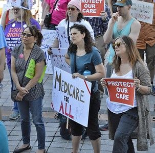 Part of the crowd listenening to speakers at a rally in Denver against the Republican sponsored American Health Care Act.