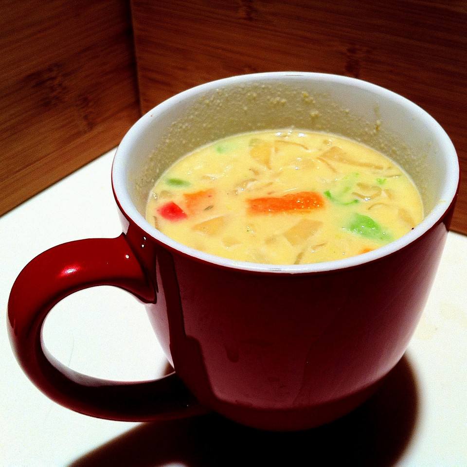 """Here is how to """"jazz up"""" a very nutritious but boring soup... We cooked up some Fettichini Miracle Noodles, cut them into 12mm lengths (1/2"""") and dry """"stir-fried"""" (meaning no oil used) them for 2 minutes, very low heat, like 250F, using the residual heat remaining on the electric cook-top, when we boiled/cooked one 7oz package of Miracle Noodles. Then we chopped up 1/2 cup of mixed vegetables and steamed it until tender but firm... <br /> <br /> Therefore when the ISAGENIX Soup is thoroughly mixed in 10 ounces of Hot water, 145F, add the cooked Miracle Noodles and Vegetables, for a hearty and healthy """"ISAGENIX Meal Replacement"""".  This combination computes to 300 Calories, well worth the 60 Calorie premium for the hearty soup."""