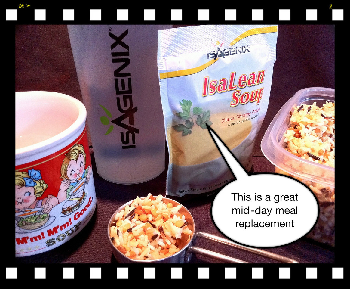 """To keep track of my progress on day 11, this morning's weighing was 176 lbs, which is down 14 from 190 at the program start... Marilyn is down 10 as of today too.This week we received ISAGENIX's Chichen Soup meal replacement packs. They are available in pre-measured packs, to conveniently take to the """"office."""" Their Soups are also available in canister form, where folks may place 2-scoops into 8 oz of piping hot water, like the 192ºF water delivered by our KEURIG Coffee Maker, of course with no canister. Stir/whisk well and you're ready to sip a terrific mid-day or evening meal replacement... I occasionally add one 1/4 cup or less (one-scoop = 2oz = 1/4cup) of freshly stemmed mix of brown-wild-basmatti rice, a nice nutty addition that enhances your eating enjoyment... In checking the food values of this steamed rice mixture at  <a href=""""http://ccm.about.com"""">http://ccm.about.com</a>  (book-mark this informative link) it shows a value of 270 calories for 1 full cup... we're using a fluffy, not compacted, level 1/4 cup or less, which would add about 50 calories, or less, to the 250 calories of the Chicken soup meal replacement = 300 total calories, or less... not a tremendous deviation from the plan... just be careful to stay within the limits of the permitted one balanced meal from 400-600 calories per day...<br /> <br /> Note, Isagenis also has available a yummy classic Tomato Soup meal/shake replacement, available in a canister where the user places 2-scoops into 8 oz of pure. Water. This Soup is also available in pre-measured powder, packaged in individual packs for convenient carrying to the office for one's mid-day meal... These soups are really tasty alternatives to the classic """"shakes"""" offering all the neutrient, vitamin, and mineral contents common to their """"shake"""" meal replacement offerings.<br /> <br /> Have a great week, and return frequently to this site for continued information, comments, and suggestions.  <a href=""""http://www.416-1100.com/business/ISAGE"""