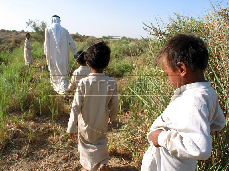 Sari Zegum, 10, right, walks with his family in the countryside south of Baghdad. His family does not have much money, but with plentiful crops and livestock, he leads a rich life with his seven brothers and sisters. His downfall came when his Iran-Iraq war veteran father Adnan Thamer Zegum, 55, and mother Fatin Hamid Daud, 38, sought out the modern world to cure a third world disease.<br /> Sari, visibly weak and suffering from aches and rashes throughout his body, was infected with HIV when he got contaminated blood two years ago at a hospital where his parents took him with a severe case diarrhea.  <br /> His case highlights the nature of the disease and the health care system. Lacking many medicines after 12 years of economic sanctions, the health system was left with no option but to give him blood to bring him back. Some even speculate about the origin of the blood itself, said to come from a French company.(Australfoto/Douglas Engle)
