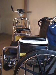 My platform walker, hemi-walker, cane and wheelchair