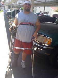 Fred in a platform walker