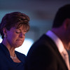 Deborah K. Weymouth, FACHE, President and CEO of UMass Memorial - HealthAlliance Hospital closes her eyes as MLA Foundation President Corey Saltin speaks on behalf of the good of his foundation during Saturdays Gala at the Double Tree in Leominster. Sentinel & Enterprise photo/Jeff Porter