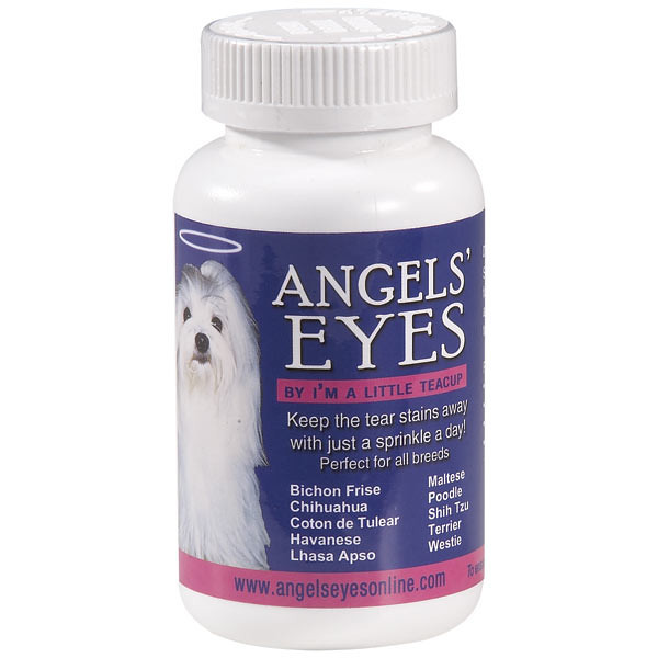 "ANGELS' EYES<br /> <br /> Ever wonder how we keep our pups eyes and fur so snow white? Well, this is how! Angels eyes is a tasty powder that comes in three flavors, beef, chicken, and sweet potato. Just a pinch of this a day in your puppy's mouth will keep those unsightly tear stains away. <br /> <br />  <br /> <a href=""http://www.petedge.com/product/Angels-Eyes-Tear-Stain-Remover-for-Dogs-Beef/46721.uts"">http://www.petedge.com/product/Angels-Eyes-Tear-Stain-Remover-for-Dogs-Beef/46721.uts</a>"
