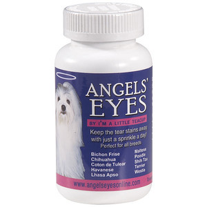 ANGELS' EYES  Ever wonder how we keep our pups eyes and fur so snow white? Well, this is how! Angels eyes is a tasty powder that comes in three flavors, beef, chicken, and sweet potato. Just a pinch of this a day in your puppy's mouth will keep those unsightly tear stains away.     http://www.petedge.com/product/Angels-Eyes-Tear-Stain-Remover-for-Dogs-Beef/46721.uts