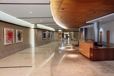 West lobby reception desk, El Camino Hospital, Mountain View, CA