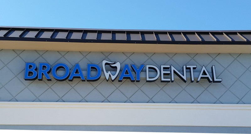 CUSTOM CHANNEL LETTERS ON A RACEWAY FOR BROADWAY DENTAL IN TYLER, TEXAS