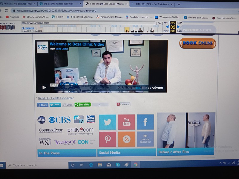 "Screenshot from the King Of Prussia SOZA CLINIC formerly known as the BOUARI CLINIC. The bottom right customer photo is of a 2010 or earlier ""A NEW ME"" Clinic. Healthy Systems USA also claim this customer."