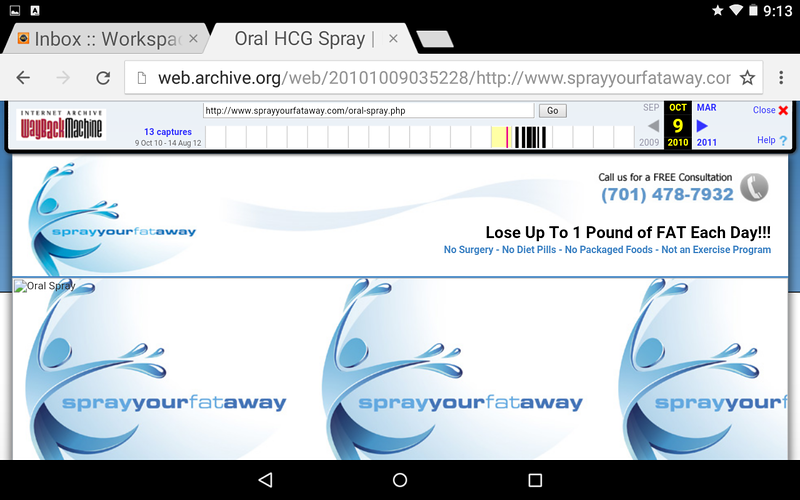 Notice the WEB ARCHIVE shows the URL description of this page as the ORAL HCG SPRAY