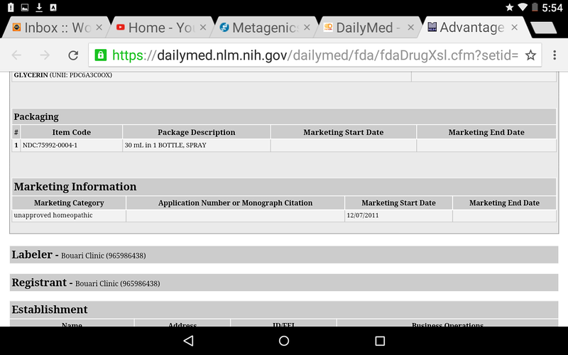Dailymed.gov USA Government website