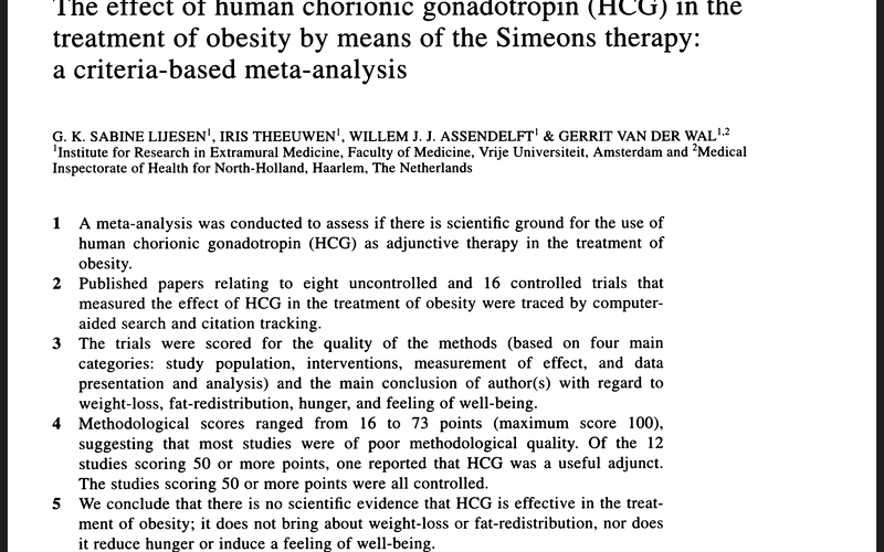 clinical trial concludes that there is NO specific evidence that HCG is effective in the treatment of obesity. IT does NOT bring about weight loss or fat redistribution, nor does it reduce hunger or induce a feeling of well being.