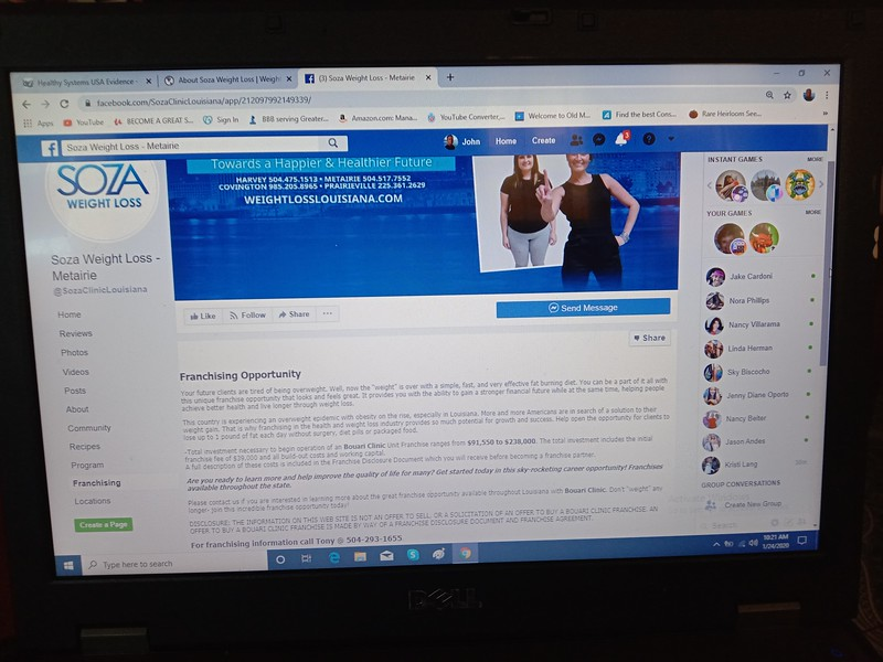 Soza Clinic weighlosslouisiana facebook page SCREENSHOT Jan. 24th 2020. THIS TEXT IS AN EXACT COPY (OBVIOUS CUT & PASTE) OF THE BOUARI FRANCHISE OPPORTUNITY  AS SEEN IN THE PREVIOUS PHOTO  click this link to see the live facebook page:   https://www.facebook.com/SozaClinicLouisiana/app/212097992149339/.