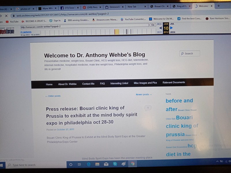 A LINK TO THE Dr. Wehbe Blog was from the King of Prussia BOUARI CLINIC WEBSITE: screenshot Jan. 10, 2012