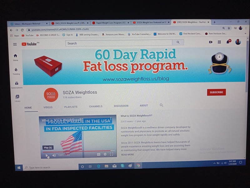 The Current 2020 SOZA weight loss YOUTUBE CHANNEL. screenshot Jan. 26th 2020 Claimed to be developed by Nutritionists and Physicians. IT IS NOT. SOZA weightloss is a former BOUARI CLINIC, proven to be fraudulent in 2016 https://www.courthousenews.com/6-7-million-award-in-weight-loss-fraud/