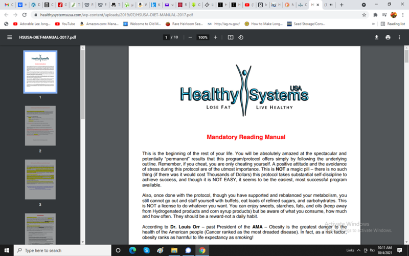 The Healthy Systems USA weight loss program ONLY WORKS if you STARVE YOURSELF on a 600-800 MAXIMUM Daily Calories. Click the link below to download their manual