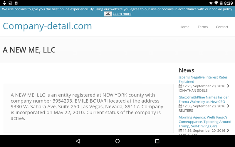 website register for EMILE BOUARI. showing A NEW ME LLC. This company was eventually changed to BOUARI CLINICS. Both of which were found to be 100% fraudulent