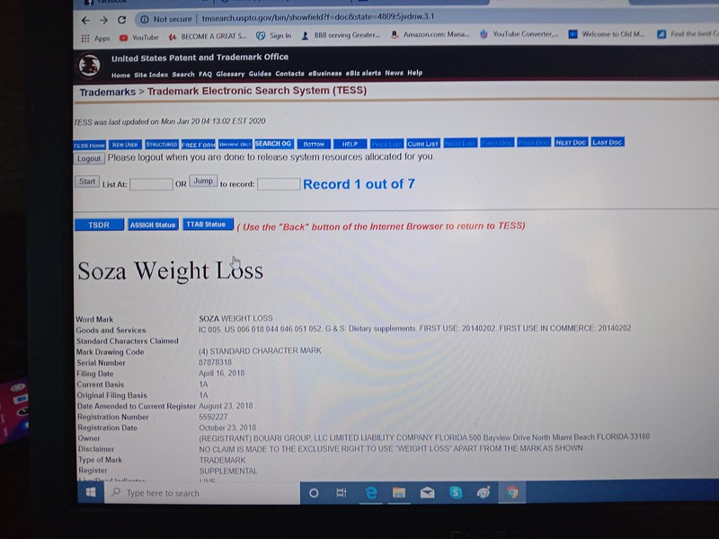 Soza Weight Loss (Registrant) BOUARI GROUP 500 Bayview Drive North Miami Beach Florida