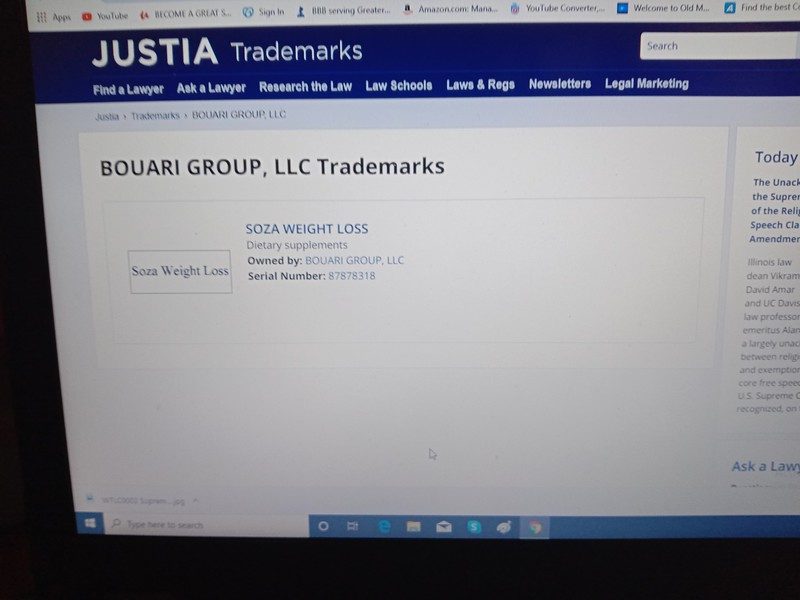 Bouari Group, LLC Trademark owned by: BOUARI GROUP, LLC DBA The Weight Loss Company. Their 2021 website is www.sozaweightloss.us  It is a former BOUARI CLINIC, everything is exactly the same as the FRAUDULENT BOUARI CLINIC weight loss protocol: https://www.courthousenews.com/6-7-million-award-in-weight-loss-fraud/