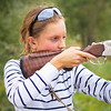 A young girl with a gun for trap shooting