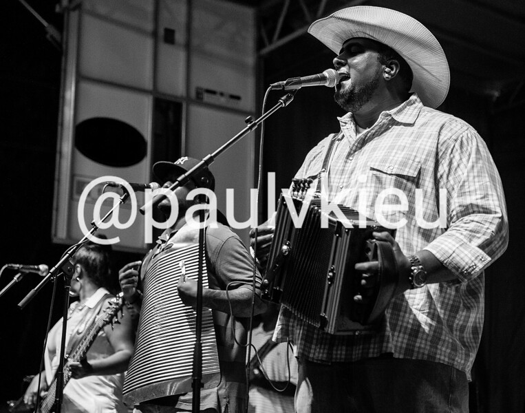 Keith Frank & the Soileau Zydeco Band perform music during the Louisiana Smoked Meat Festival in Ville Platte, La., Friday, June 26, 2015.