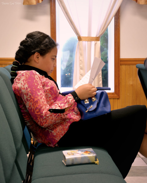 young girl in church