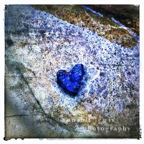 Heart, Rock in Ocean, Malibu Beach, California (square print)