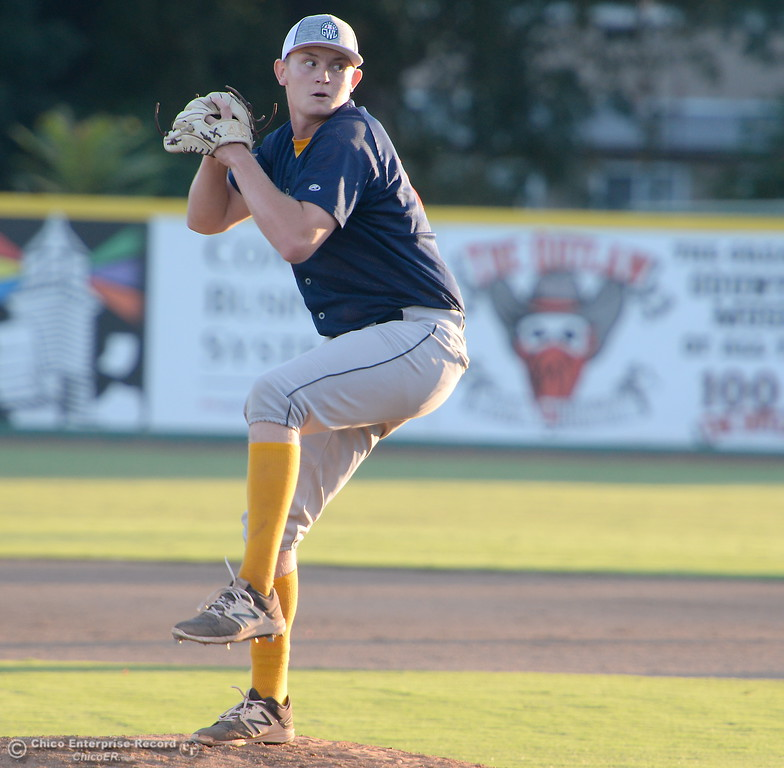 . Marysville Gold Sox Pitcher Cruz Daddario fires toward the plate during the Chico Heat vs All Stars baseball game at Nettleton Field in Chico, Calif. Mon. July 24, 2017.  (Bill Husa -- Enterprise-Record)