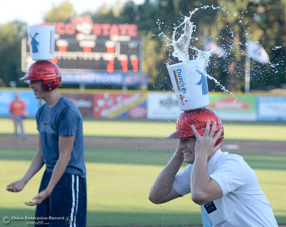 . James Grayson takes one for the team during some in between innings fun at the Chico Heat vs All Stars baseball game at Nettleton Field in Chico, Calif. Mon. July 24, 2017.  (Bill Husa -- Enterprise-Record)