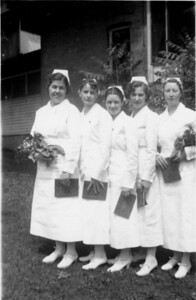 EvaWatson, Josephine Gwynn, LaVaughn Glazier, Hertha Jensen, Ruth Adams May 1937 @ Nurses Home @ LDS Hospital Day After Commencement Exercises