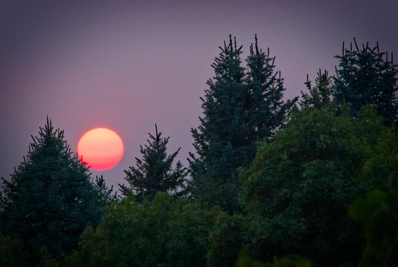 A smoky sunset in Bountiful, Utah