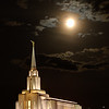 This is an HDR image of the LDS Oquirrh Mountain Temple in the Salt Lake Valley. My daughter-in-law suggested to me that I submit some of my photos of LDS temples to a photo contest that was being sponsored by LDS Living and Deseret Book. The contest was to find photos for a 2014 calendar. This is one of the photos that I submitted, and it was selected to be the photo for October.<br /> I woke up at 4:30am to be able to have time to drive over to get some photos of this temple with the full moon behind it. I pulled into a subdivision that is currently under construction, got out of my truck, setup my tripod and camera and started taking some shots. As I was standing there, another car pulled in next to me and just sat there. The driver never got out or said anything to me. But I noticed that he was wearing a bright orange shirt, like the kind some construction workers wear. I'm sure he was there to see if I was stealing anything from the construction site.