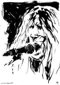 Originals for sale! 65$ for originals drawn in A4 size (29,7cm x 21cm), 40$ for originals drawn in A5 size (21cm x 14,8cm). Worldwide shipping included! Ask for size and availability.  Drawn by the side of the stage, live during concerts. Presented as the were drawn, not edited or corrected afterwards,