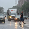 KRISTOPHER RADDER - BRATTLEBORO REFORMER<br /> Shaun Makey crosses Main Street as heavy rain pours down on Monday, June 19, 2017, as a band of strong storms came through the Brattleboro area.