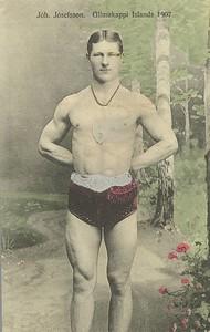 Jóhannes Jósefsson glímukappi Íslands 1907.