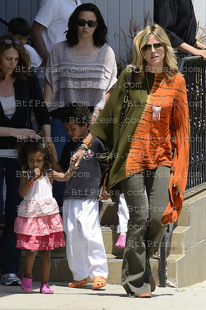 "Heidi Kum enjoy her kids, with karate lesson,lunch in an italian restaurant in Brentwood and at the movie theater to watch  "" The Dictator "" in Los Angeles,California."