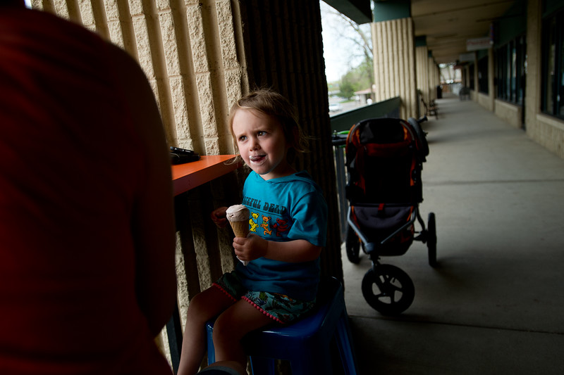 "Coppen Winer, 3, licks ice cream off her lips, while out with her mother at Heifer and the Hen in Boulder.  <br /> More photos:  <a href=""http://www.dailycamera.com"">http://www.dailycamera.com</a><br /> Autumn Parry/Staff Photographer<br /> May 5, 2016"