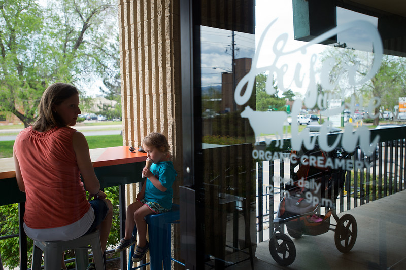 "Lauren Winer and her daughter Coppen Winer, 3, eat ice cream at Heifer and the Hen in Boulder on Thursday.<br /> More photos:  <a href=""http://www.dailycamera.com"">http://www.dailycamera.com</a><br /> Autumn Parry/Staff Photographer<br /> May 5, 2016"