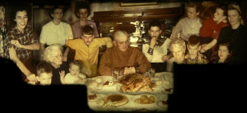Thanksgiving - Norsworthy family, Waynesboro, Mississippi,  1953.<br /> <br /> This is a composite image of many 8mm movie frames.<br /> <br /> Standing (left to right): Mary Norsworthy, Sara Norsworthy Pledger, Mildred Norsworthy, Margaret Norsworthy, Mena Deloach, Eliza Norsworthy Deloach, Min Norsworthy Gibson Simpson.<br /> <br /> Seated (left to right): Jim Pledger, Maggie Norsworthy, Peggy Pledger Downing, Harry Gibson, Harry Norsworthy, Charles Gibson, Minnie Moore, Tyson Deloach, Jean Deloach.