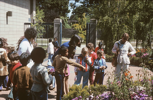 Schoolchildren and Docents in Library Courtyard, 1970s