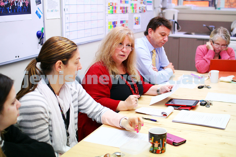 A week in the life. Helen Greenberg. Principal, Sholem Aleichem College. staff meeting. Photo: Peter Haskin