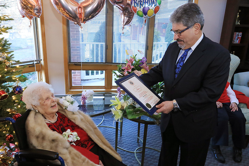 . Helen Hornsey celebrated her 104 birthday on Tuesday, December 4, 2018 at the The Gables on John Fitch Highway in Fitchburg. Fitchburg Mayor Stephen DiNatale read a proclamation from the city to Helen during her party. SENTINEL & ENTERPRISE/JOHN LOVE