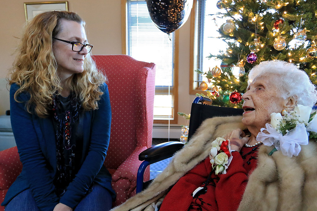 . Helen Hornsey celebrated her 104 birthday on Tuesday, December 4, 2018 at the The Gables on John Fitch Highway in Fitchburg. Erika Alcorn chats with Helen, her great aunt, during the party. SENTINEL & ENTERPRISE/JOHN LOVE