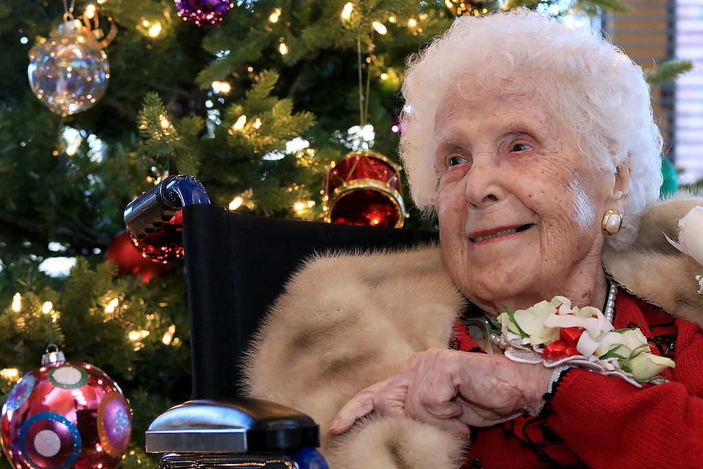 . Helen Hornsey celebrated her 104 birthday on Tuesday, December 4, 2018 at the The Gables on John Fitch Highway in Fitchburg. Helen chats about her live during the party. SENTINEL & ENTERPRISE/JOHN LOVE