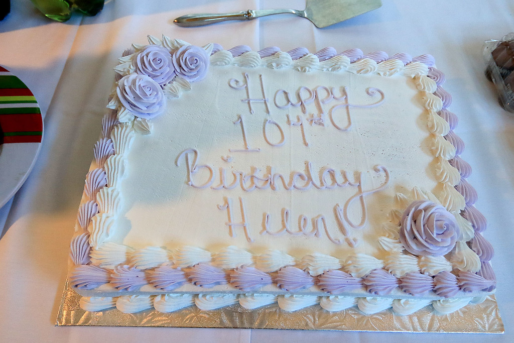 . Helen Hornsey celebrated her 104 birthday on Tuesday, December 4, 2018 at the The Gables on John Fitch Highway in Fitchburg. Helen Hornsey\'s birthday cake. SENTINEL & ENTERPRISE/JOHN LOVE